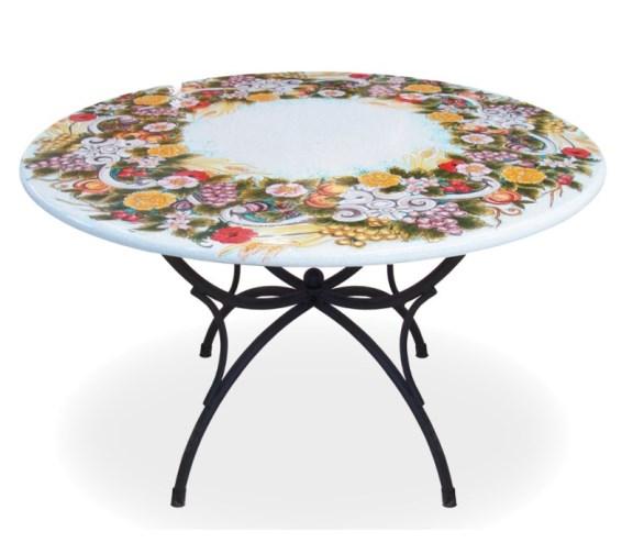 Tavoli Da Esterno Outlet.Tavolo Giardino Pietra Lavica Dipinta A Mano Ceramiche Ficola Outlet